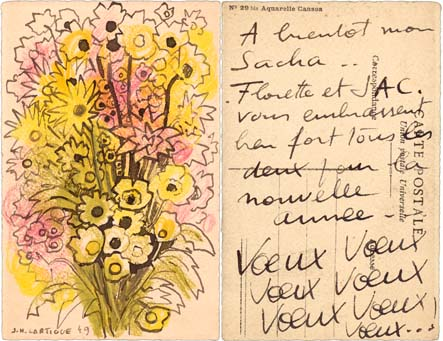 Postcard with drawing by Lartigue